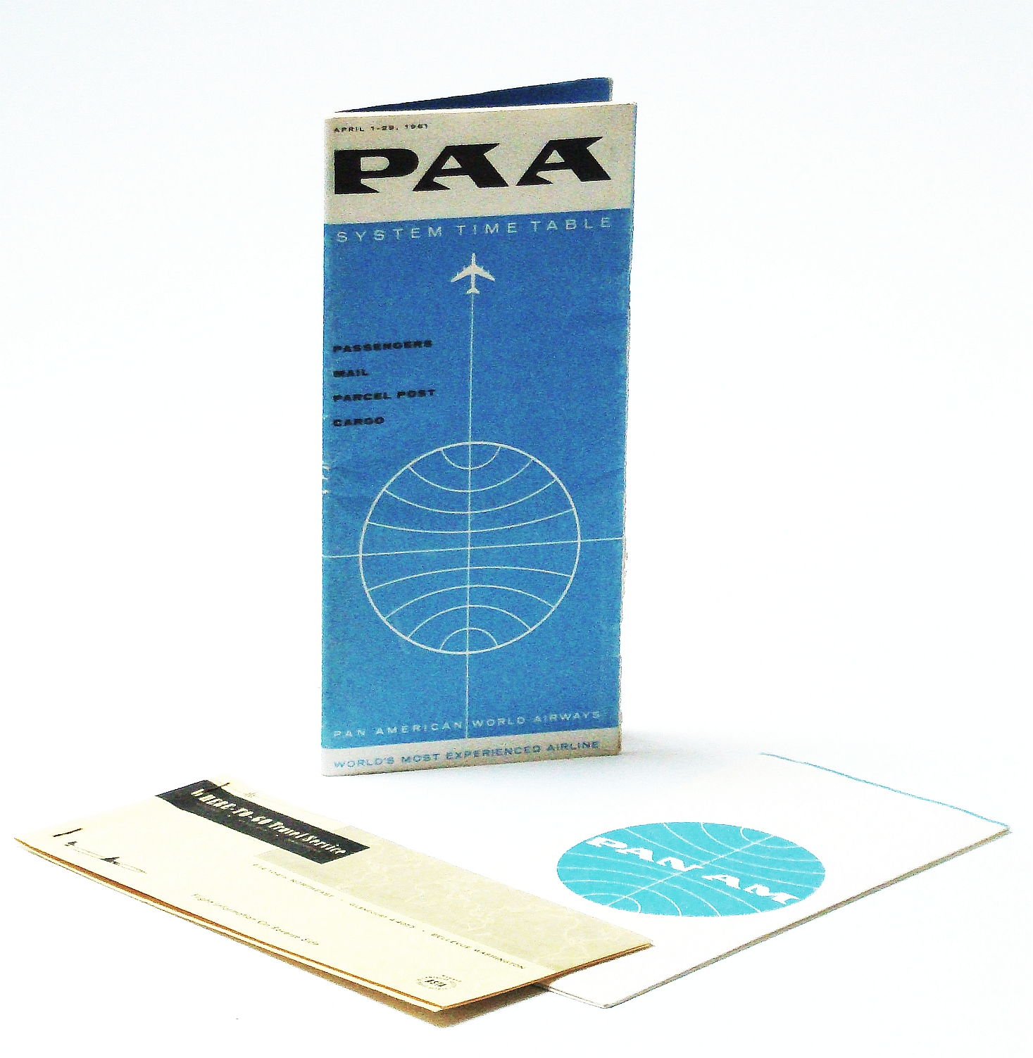 Image for 1961 Pan Am (Pan American World Airways) Timetable with Ticket Book and Wallet (3 pieces)
