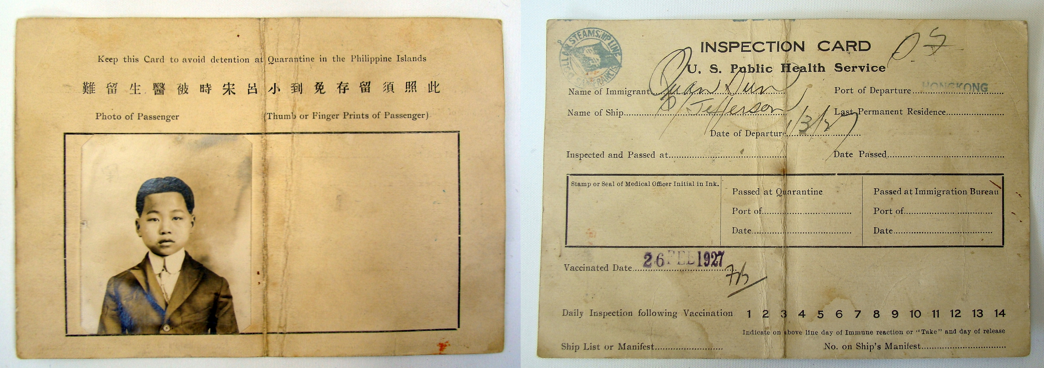 U.S. Public Health Service Immigration Inspection Card for Quan Sun of Hong Kong