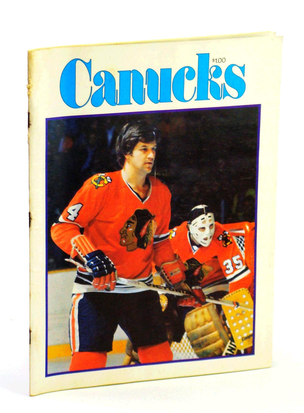 Image for Canucks - Vancouver Canuck Magazine, January 27, 1977, Vol. 7, No. 25 - Cover Photo of Bobby Orr and Tony Esposito of the Chicago Blackhawks
