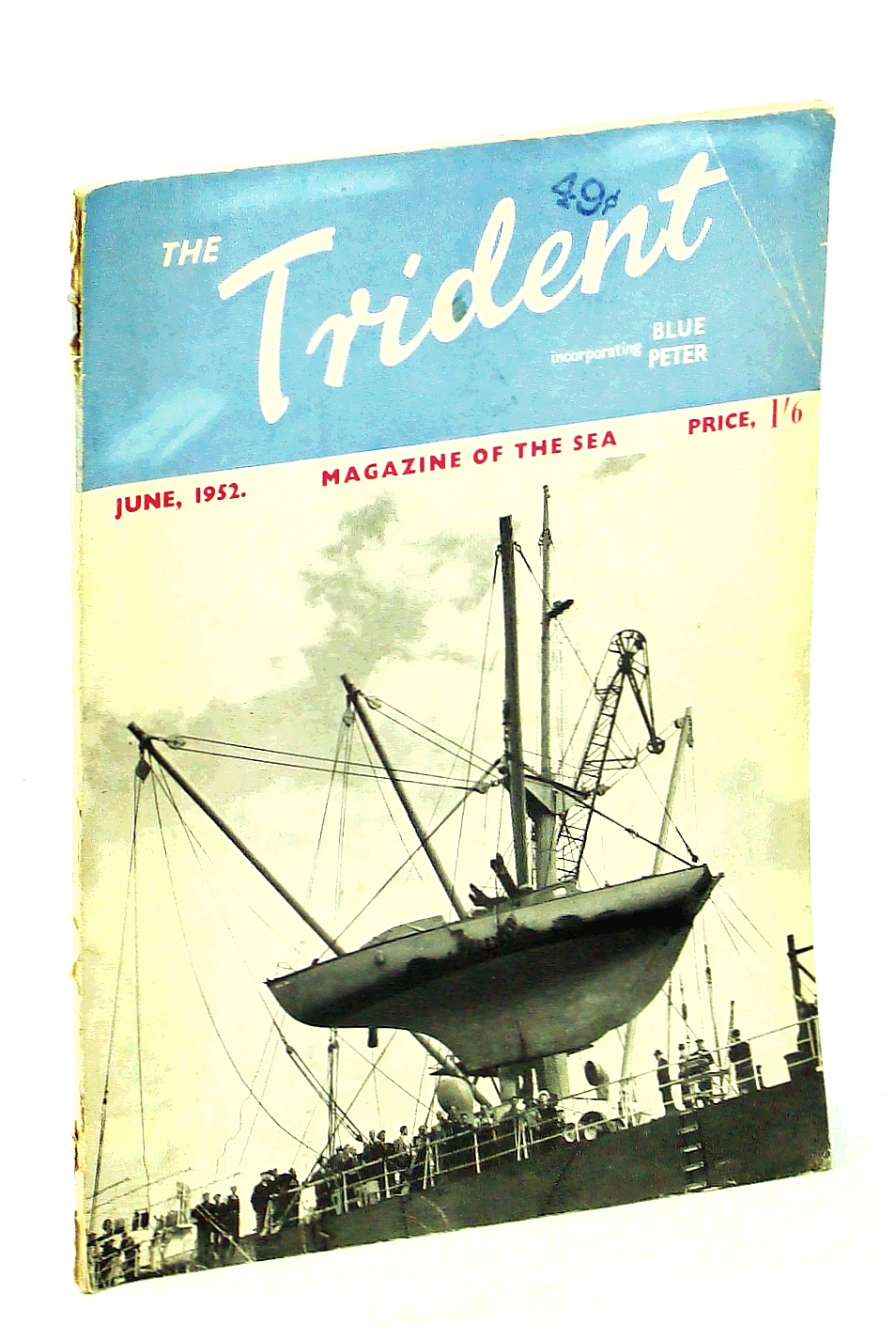 """Image for The Trident [Magazine] Incorporating Blue Peter - Magazine of the Sea, June 1952, Vol. 14, No. 158 - Cover photo of the Yacht """"Samuel Pepys"""" Being Hoisted Aboard the Royal Mail Ship """"Brittany"""""""