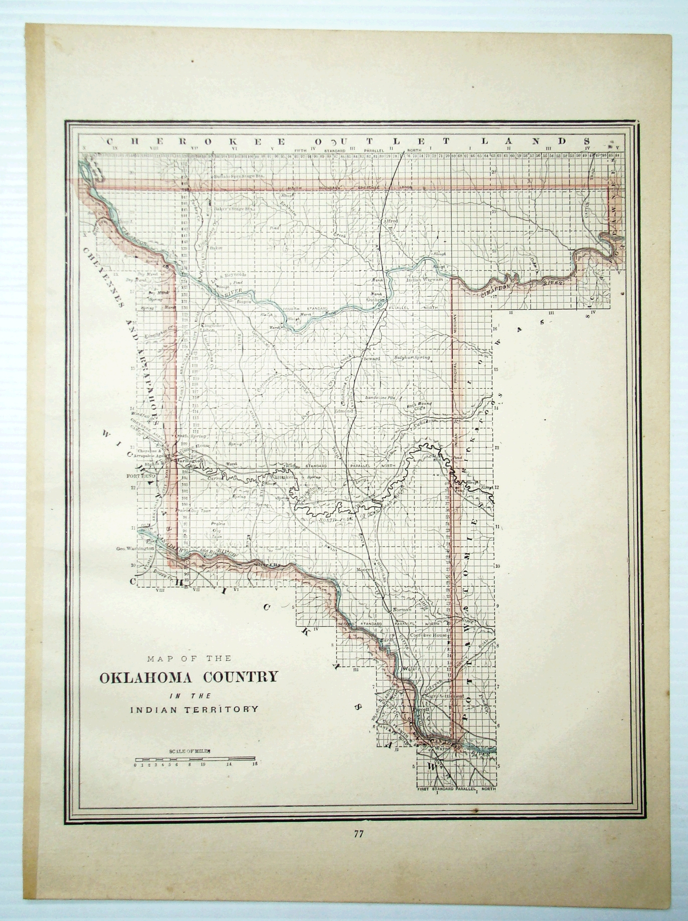 Image for 1889 Colored Map of the Oklahoma Country in the Indian Territory