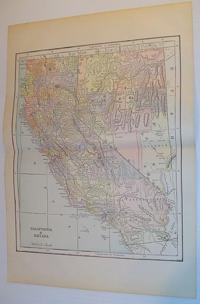 Image for Colour Map of California and Nevada - Circa 1902