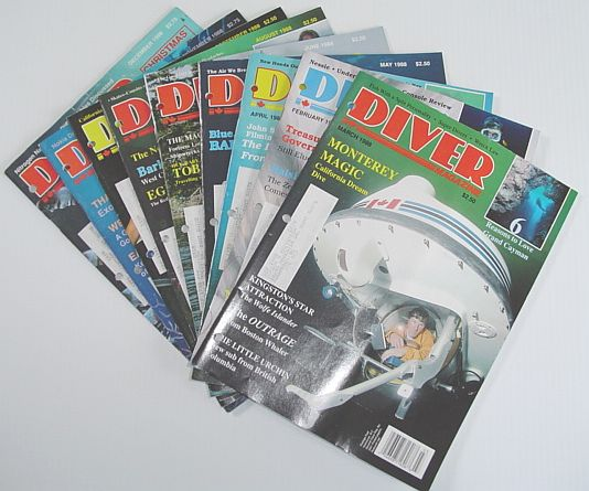 Diver Magazine: 9 Issues from 1988, Multiple Contributors