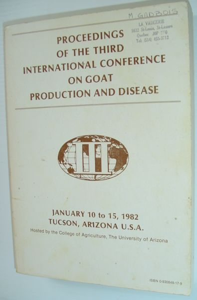 Image for PROCEEDINGS OF THE THIRD INTERNATIONAL CONFERENCE ON GOAT PRODUCTION AND DISEASE